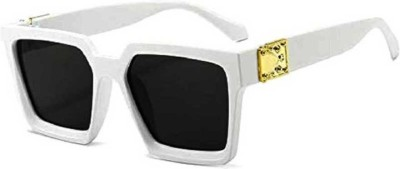LIZA ANGEL Retro Square, Over-sized, Rectangular, Round Sunglasses(Black)
