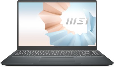 MSI Modern 14 Ryzen 5 Hexa Core 4500U - (8 GB/512 GB SSD/Windows 10 Home) Modern 14 B4MW-238IN Thin and Light Laptop(14 inch, Carbon Grey, 1.3 kg)