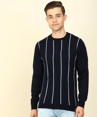 Peter England Striped Crew Neck Casual Men White, Dark Blue Sweater
