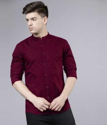 Jai Textiles Men Solid Casual Maroon Shirt