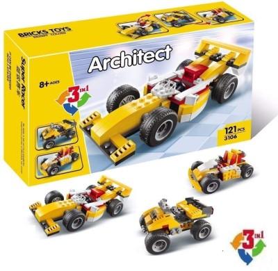 Pulsbery Decool 121 pcs 3 in 1 Architect Super Racer DIY Block Construction Set Toy Multicolor Pulsbery Blocks   Building Sets