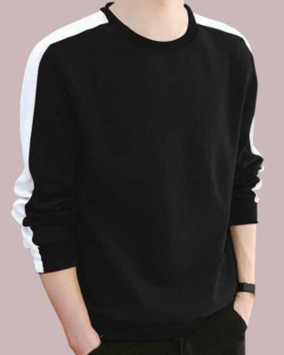 FastColors Solid Men Round Neck Black, White T-Shirt