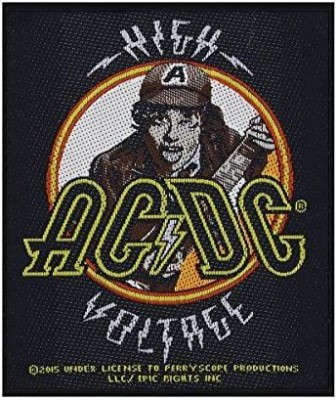 Razmataz AC/DC ACDC High Voltage Lightning Bolt Patch Angus Young Band Sew On Applique