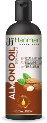Hanman Essentials 100% Pure Almond Oil (Cold Pressed) For Hair & Skin (200 ml) Hair Oil(200 ml)