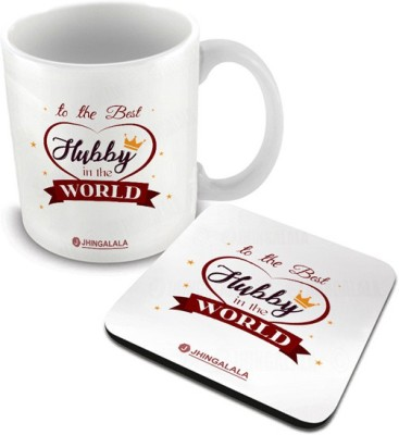 Jhingalala To The Best Hubby In The World Printed with Coaster Combo Gift for Husband, Hubby for Anniversary, Valentine Day and Birthday (1188) Ceramic Coffee Mug(325 ml, Pack of 2)