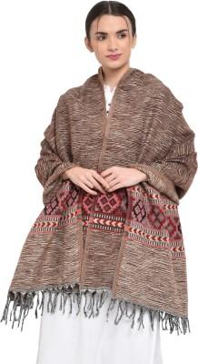 Weavers Villa Cashmere, Wool Woven Women Shawl(Brown)