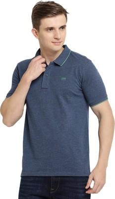 Wrangler Self Design Men Polo Neck Dark Blue T-Shirt