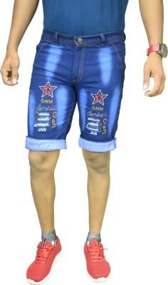 IndiForce Washed Men Blue Denim Shorts