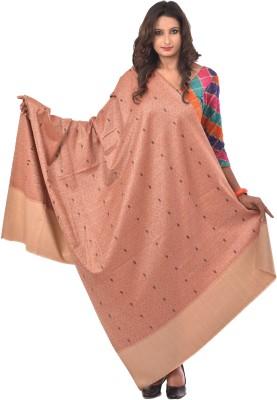 WEAVERS VILLA Acrylic Blend Woven Women Shawl(White, Orange, Beige)