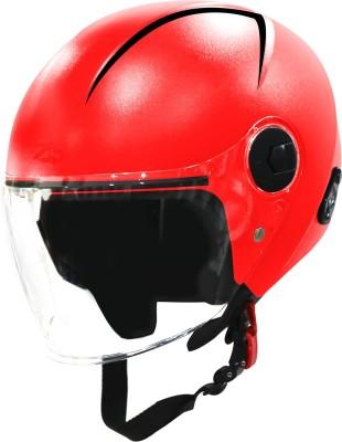 Steelbird SBH-20 Reflective Open Face Helmet in Red Motorbike Helmet(Red)