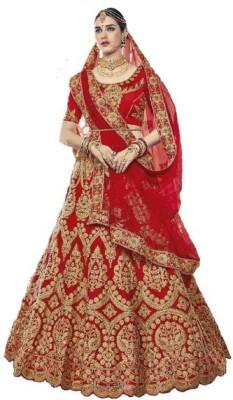 CRAZE N WORLD Embroidered Semi Stitched Lehenga Choli(Red)