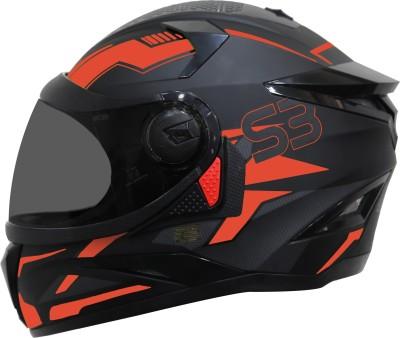 Steelbird SBH-17 Terminator Full Face Graphic Helmet in Fluo Matt Black Red with Smoke Visor Motorbike Helmet(Matt Black Fluo Red...
