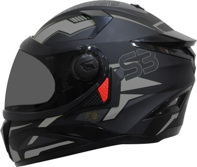 Steelbird SBH-17 Terminator Full Face Graphic Helmet in Matt Black Grey Motorbike Helmet(Matt Black Grey)