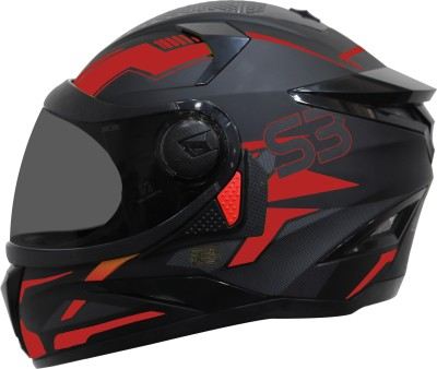 Steelbird SBH-17 Terminator Full Face Graphic Helmet in Matt Black Red with Smoke Visor Motorbike Helmet(Matt Black Red)