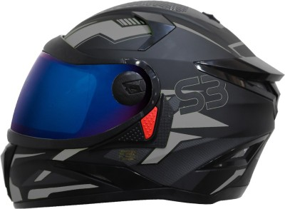 Steelbird SBH-17 Terminator Full Face Graphic Helmet in Matt Black Grey with Blue Visor Motorbike Helmet(Matt Black Grey)