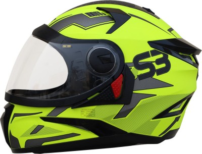 Steelbird SBH-17 Terminator Full Face Graphic Helmet in Glossy Fluo Neon with Clear Visor Motorbike Helmet(Glossy Fluo Neon with Clear...