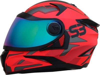 Steelbird SBH-17 Terminator Full Face Graphic Helmet in Glossy Fluo Watermelon Motorbike Helmet(Glossy Fluo Watermelon with Rainbow Visor)