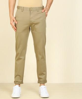 Peter England Slim Fit Men Khaki Trousers
