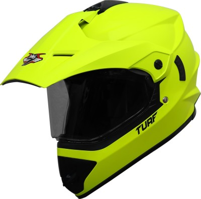 Steelbird Off Road TURF Motocross Helmet in Matt Fluo Neon with Extra Clear Visor Motorbike Helmet(Glossy Fluo Neon with Smoke...