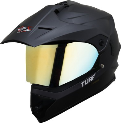 Steelbird Off Road Motocross Helmet in Matt Axis Grey with Extra Clear Visor Motorbike Helmet(Black)