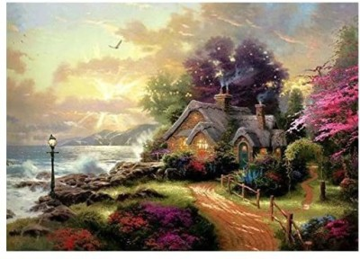 digital oil painting ABEUTY DIY Paint by Numbers for Adults Beginner - Fairytale House Forest Garden 16x20 inches Number Painting Anti S