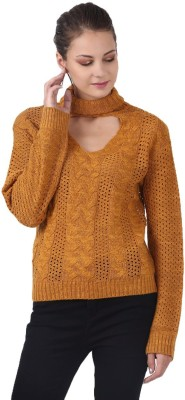 MansiCollections Solid High Neck Casual Women Yellow Sweater