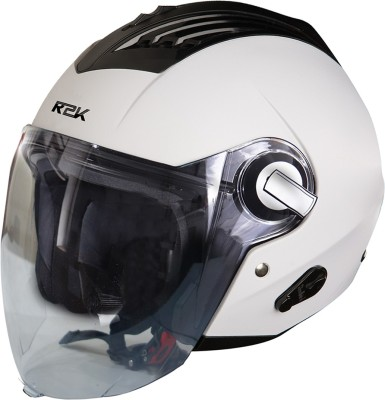 Steelbird SBA-3 R2K Classic Open Face Helmet in White Motorbike Helmet(White With Plain Visor)