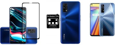 Backlund Front and Back Screen Guard for Realme 7 pro Tempered Glass,Carbon Fiber Back Sticker and Camera Glass(Pack of 2)