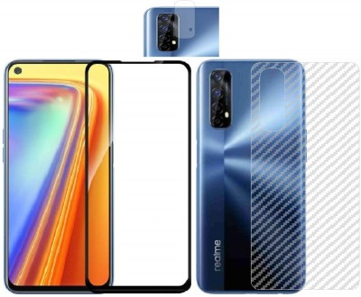 Backlund Front and Back Screen Guard for REALME 7 Tempered Glass,Carbon Fiber Back Sticker and Camera Glass(Pack of 2)
