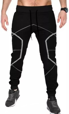 Tripr Self Design Men Black Track Pants