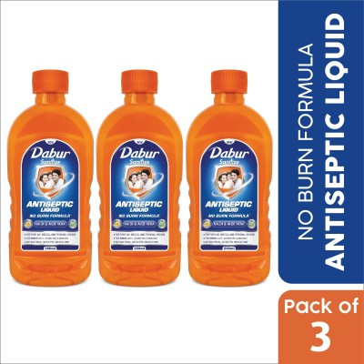 Dabur Sanitize Antiseptic Liquid | No Burn Formula Antiseptic Liquid (750 ml, Pack of 3)