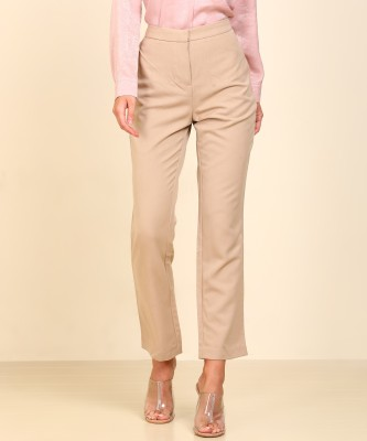 AND Regular Fit Women Beige Trousers