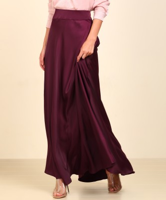 AND Solid Women Flared Purple Skirt