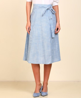 AND Self Design Women Regular Blue Skirt