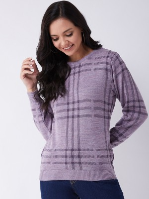 Modeve Printed Round Neck Casual Women Purple Sweater
