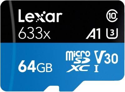 Lexar 633x 64  GB MicroSD Card Class 10 95 MB/s Memory Card Lexar Memory Cards