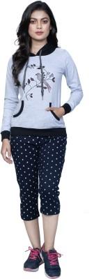 StyleAone Women Printed, Embroidered Grey, Dark Blue Top & Capri Set
