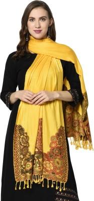 Weavers Villa Cotton Viscose Blend Printed Women Shawl(Yellow)