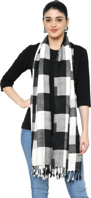 WEAVERS VILLA Cotton Viscose Blend Checkered Women Shawl(White, Black)