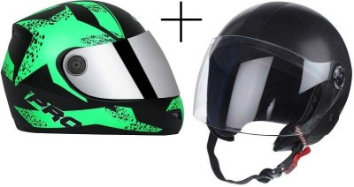 Banyan O2 sports bike and scooty helmet pack of 2 Motorbike Helmet(Black, Green)