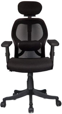 Rajpura Matrix High Back Revolving Chair with Headrest and Centre Tilt Mechanism in Black Fabric and mesh/net back With Nylon Base (Adjustable Arms) Fabric Office Executive Chair(Black)
