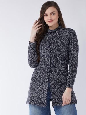 Pivl Graphic Print Collared Neck Casual Women Grey, Dark Blue Sweater