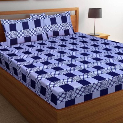 Panipat Textile Hub 140 TC Microfiber Double Printed Bedsheet(Pack of 1, Blue)