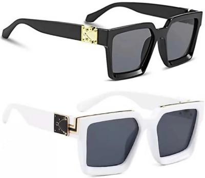 kingsunglasses Rectangular Sunglasses(For Men & Women, Black)