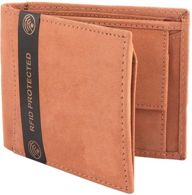 KAEZRI Men Tan Genuine Leather Wallet(6 Card Slots)