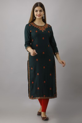 FASHION DEPTH Women Embroidered Straight Kurta(Dark Green)