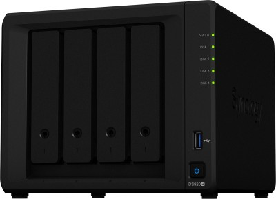 Synology DiskStation DS920+ 0 TB External Hard Disk Drive(Black, Mobile Backup Enabled, External Power Required)