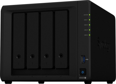 Synology DiskStation DS420+ 0 TB External Hard Disk Drive(Black, Mobile Backup Enabled, External Power Required)