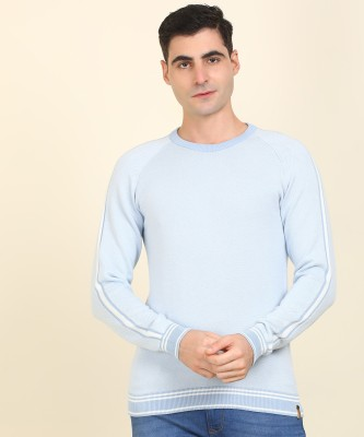 Peter England Self Design Crew Neck Casual Men Blue Sweater