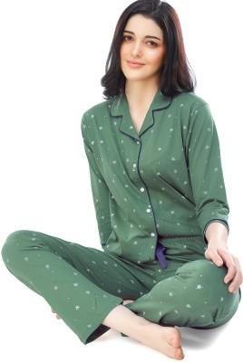 ZEYO Women Printed Green Shirt & Pyjama set